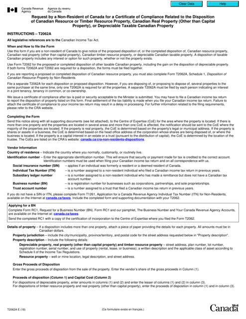 Form T2062A Printable Pdf