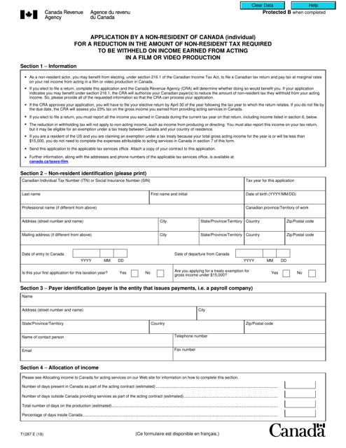Form T1287 Printable Pdf