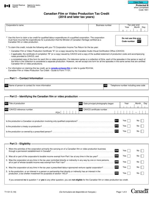 Form T1131 Printable Pdf