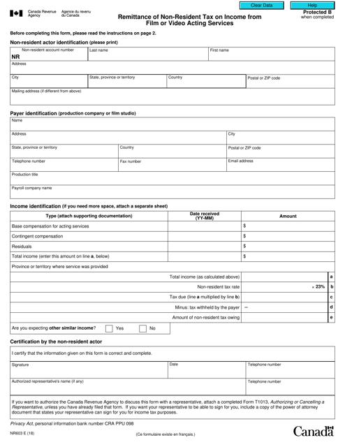 Form NR603 Printable Pdf