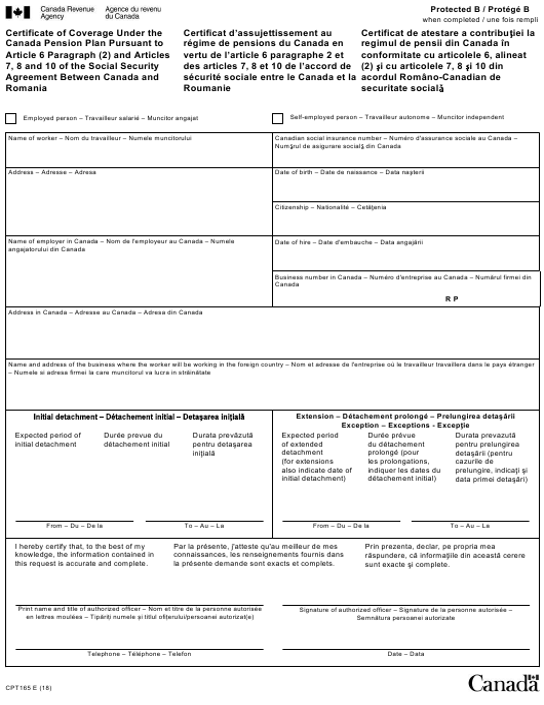 Form CPT165  Fillable Pdf