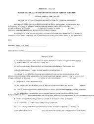 "Form 327 ""Notice of Application for Registration of Foreign Judgment"" - Canada"