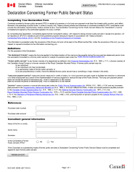 "Form GAC-AMC2554 E ""Declaration Concerning Former Public Servant Status"" - Canada"