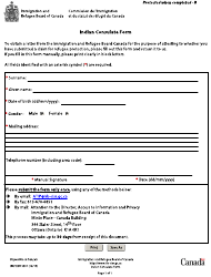 "Form IRB/CISR3001 ""Indian Consulate Form"" - Canada"
