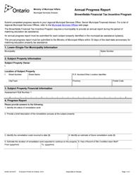 "Form 2032E ""Brownfields Financial Tax Incentive Program Annual Progress Report"" - Ontario, Canada"