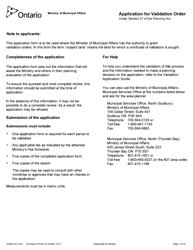 "Form 2034E ""Application for Validation Order"" - Ontario, Canada"