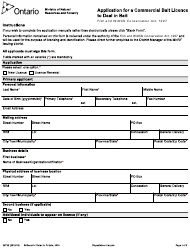 """Form 2372E """"Application for a Commercial Bait Licence to Deal in Bait"""" - Ontario, Canada"""