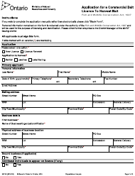 """Form 2374E """"Application for a Commercial Bait Licence to Harvest Bait"""" - Ontario, Canada"""