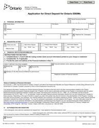"Form 89-1859 E ""Application for Direct Deposit for Ontario Ebsms"" - Ontario, Canada"