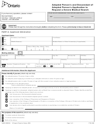 """Form 3090E """"Adopted Person's and Descendant of Adopted Person's Application to Request a Severe Medical Search"""" - Ontario, Canada"""