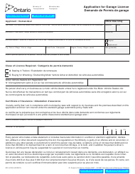 "Form SR-LV-053 ""Application for Garage Licence"" - Ontario, Canada (English/French)"