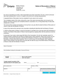 "Form 0316E ""Notice of Revocation of Waiver"" - Ontario, Canada"