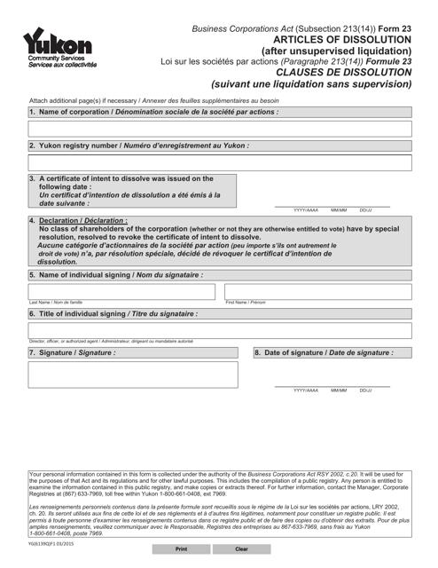Form 23 (YG6139) Printable Pdf