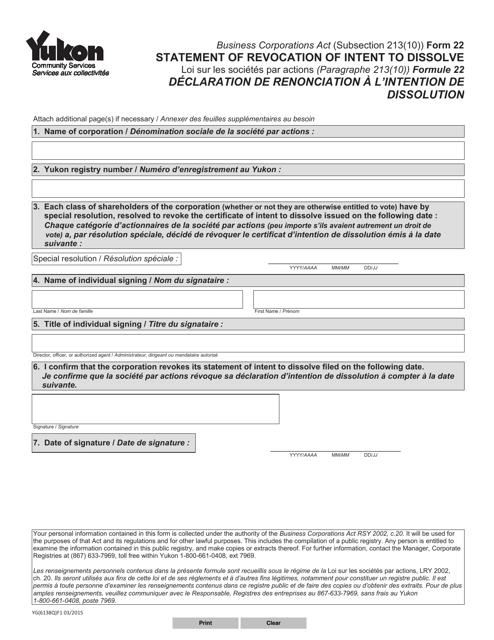 Form 22 (YG6138) Printable Pdf