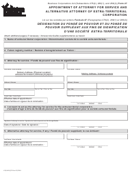 """Form 27 (YG6142) """"Appointment of Attorney for Service and Alternative Attorney of Extra-territorial Corporation"""" - Yukon, Canada (English/French)"""