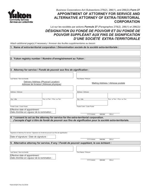 Form 27 (YG6142) Printable Pdf