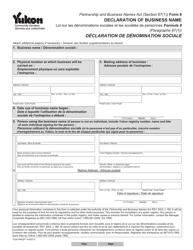 "Form 8 (YG6196) ""Declaration of Business Name"" - Yukon, Canada (English/French)"