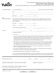 "Form YG4984 ""Statutory Declaration - Labour, Apprentice, Youth, Materials Incentive Rebate"" - Yukon, Canada"