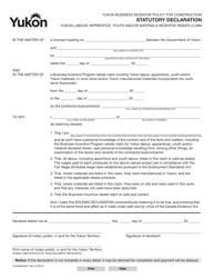 "Form YG4984 ""Statutory Declaration - Labour, Apprentice, Youth, Materials Incentive Rebate"" - Yukon, Canada"