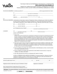 """Forme YG4984 """"Declaration Solennelle"""" - Yukon, Canada (French)"""