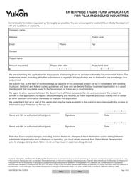"Form YG5473 ""Enterprise Trade Fund Application for Film and Sound Industries"" - Yukon, Canada"