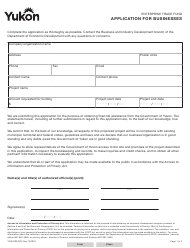 "Form YG5470 ""Enterprise Trade Fund Application for Businesses"" - Yukon, Canada"