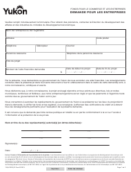 "Forme YG5470 ""Application for Businesses"" - Yukon, Canada (French)"