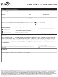 "Form YG5350 ""Yukon Filmmakers Fund Application"" - Yukon, Canada"