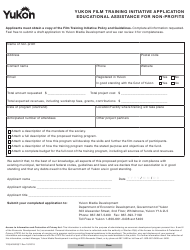 "Form YG5435 ""Yukon Film Training Initiative Application Educational Assistance for Non-profits"" - Yukon, Canada"