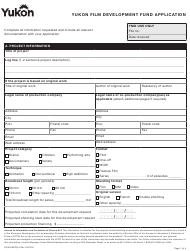 "Form YG5320 ""Yukon Film Development Fund Application"" - Yukon, Canada"