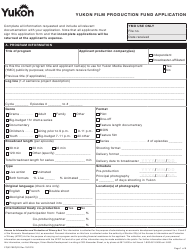 "Form YG5319 ""Yukon Film Production Fund Application"" - Yukon, Canada"