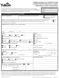 "Forme YG5319 ""Yukon Film Production Fund Application"" - Yukon, Canada (French)"