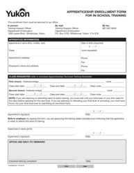 """Form YG6586 """"Apprenticeship Enrollment Form for in-School Training"""" - Yukon, Canada"""