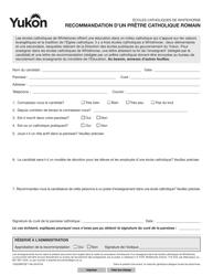 "Forme YG5366 ""Roman Catholic Pastoral Reference"" - Yukon, Canada (French)"