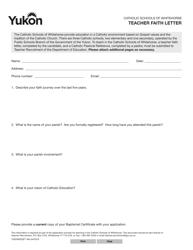 """Form YG5365 """"Teacher Faith Letter"""" - Yukon, Canada"""