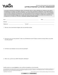 """Forme YG5365 """"Teacher Faith Letter"""" - Yukon, Canada (French)"""