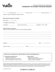 "Form YG4903 ""Transcript or Student Records Request"" - Yukon, Canada"