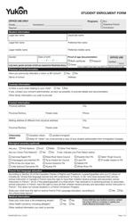 """Form YG5607 """"Student Enrolment Form"""" - Yukon, Canada"""