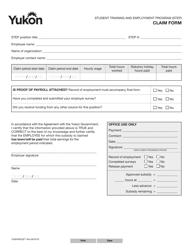 """Form YG6493 """"Student Training and Employment Program (Step) Claim Form"""" - Yukon, Canada"""
