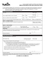 "Form YG6568 ""Yukon Summer Career Placement (Scp) Program Employer/Employee Declaration Form"" - Yukon, Canada"
