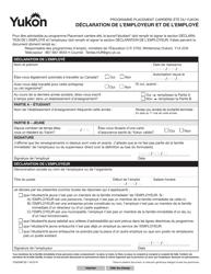 """Forme YG6568 """"Declaration De L'employeur Et De L'employe"""" - Yukon, Canada (French)"""