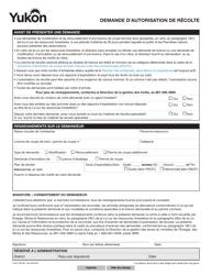 "Forme YG4176 ""Demande D'autorisation De Recolte"" - Yukon, Canada (French)"