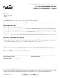 "Form YG6070 ""Statutory Declaration for Transfer of Claim(S) - Placer"" - Yukon, Canada"