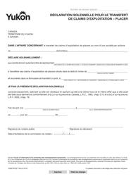 "Forme YG6070 ""Statutory Declaration for Transfer of Claim(S) - Placer"" - Yukon, Canada (French)"