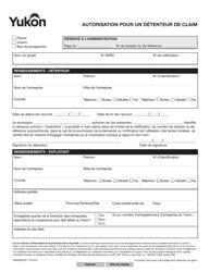 """Forme YG6582 """"Claim Holder Authorization"""" - Yukon, Canada (French)"""