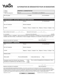 "Forme YG6581 ""Record of Agent Authorization"" - Yukon, Canada (French)"