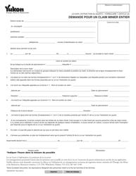 """Forme 1 (YG5046) """"Demande Pour Un Claim Minier Entier"""" - Yukon, Canada (French)"""
