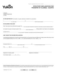 "Form YG6650 ""Statutory Declaration for Transfer of Claim(S) - Quartz"" - Yukon, Canada"