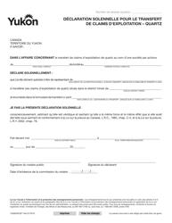 """Forme YG6650 """"Declaration Solennelle Pour Le Transfert De Claims D'exploitation - Quartz"""" - Yukon, Canada (French)"""