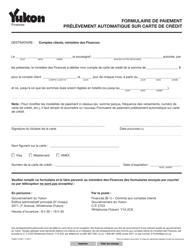 """Forme YG6511 """"Formulaire De Paiement Prelevement Automatique Sur Carte De Credit"""" - Yukon, Canada (French)"""